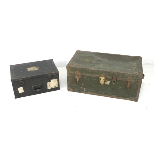 176 - Two vintage metal trunks, one green painted metal, 78.5 by 44 by 34cm high, and one black painted me...