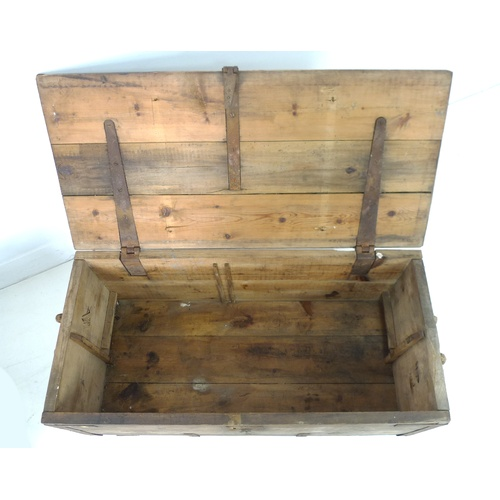 178 - Two vintage pine chests, one painted pale green and marked 'Claydon', 80 by 44 by 56cm high, the oth...