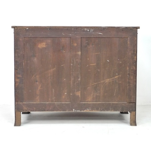239 - An early Victorian figured mahogany serpentine fronted chest of four graduating drawers, the shaped ...