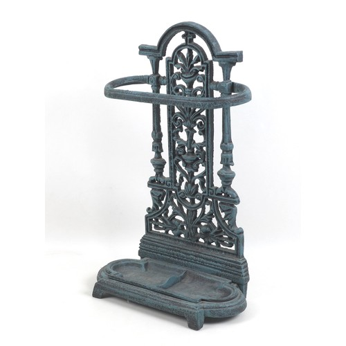 173 - A modern reproduction metal stick stand, in Victorian style, painted in a green weathered style fini...