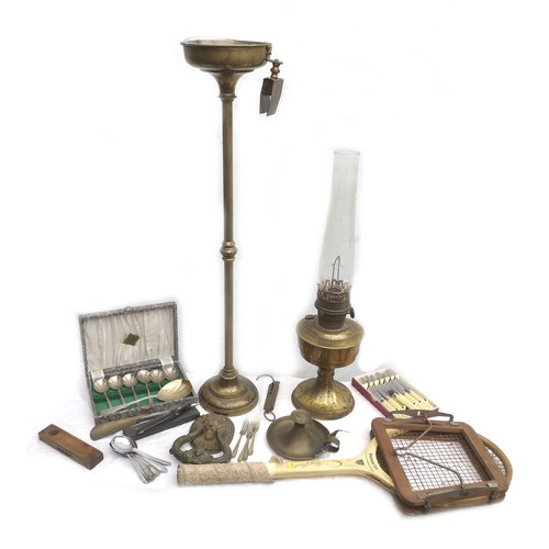 68 - A mixed group of metal wares and other items, including a brass cigarette ashtray stand, an oil lamp...