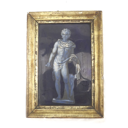 38 - A 19th century hand painted picture tile, depicting a Classical Roman male nude, against a dark blue...