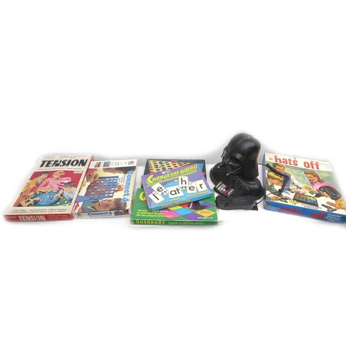 111 - A novelty telephone in the form of a bust of Darth Vader, together with a collection of vintage boar...