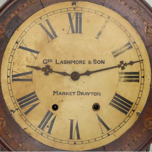 220 - A Victorian mahogany cased drop dial wall clock, by Geo Lashmore & Son, Market Drayton, the case wit...