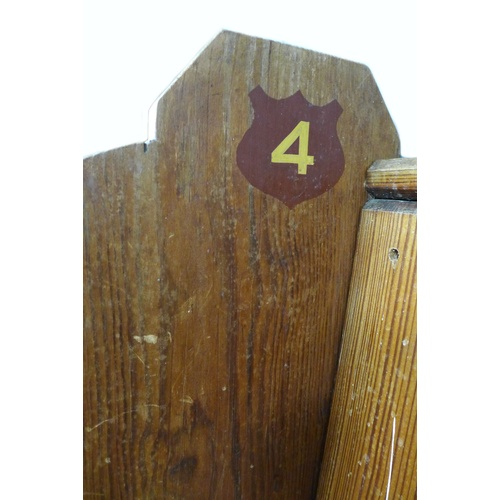 236 - A Victorian pine church pew, with '4' painted to the inside left side panel, and '6' painted to the ...