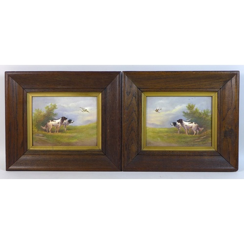 46 - A pair of Edwardian Crown Devon Fieldings painted ceramic plaques, by R. Hinton, each depicting two ...