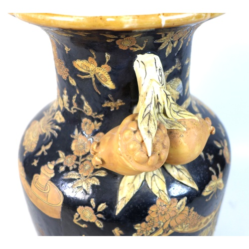 14 - A late 20th century Chinese ceramic vase, circa 1970, of baluster form with applied handles modelled...