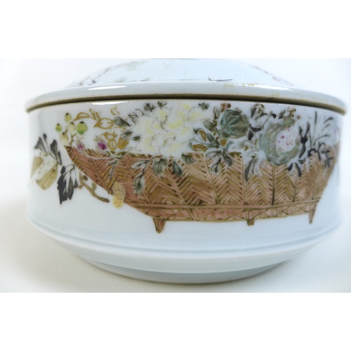 11 - A Japanese Satsuma porcelain dish and cover By Kanzan Denshichi, Meiji Period, finely painted in ena...