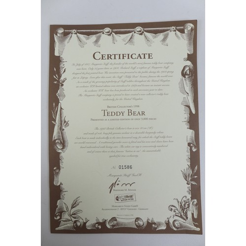118 - Two limited edition Steiff teddy bears, a 1995 replica of a 1951 Panda Bear with certificate numbere...