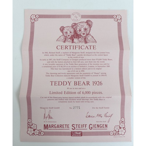 119 - Two limited edition Steiff teddy bears, A 1992 replica of a 1912 Otto teddy with growler, a certific...