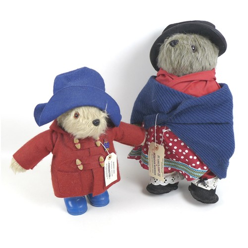 117 - A Paddington Bear, and an Aunt Lucy bear soft toy, both by Gabrielle Designs, Paddington with blue h...