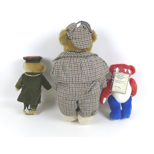 115 - Three early 21st century teddy bears, comprising two by Merrythought: a limited2003 Elizabeth II Cor...