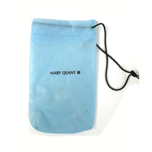 105 - A Mary Quant poncho rain cape, circa 1980s, in blue and white PVC, with hood and front central pocke...