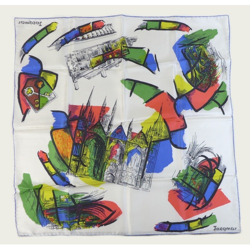 104 - A Jacqmar silk scarf, depicting the great Cathedral Church at Peterborough and details of the Cathed...
