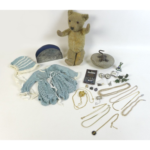 66 - A group of collectables, including a pre-war teddy bear 38cm high, two pieces of late 20th century d...