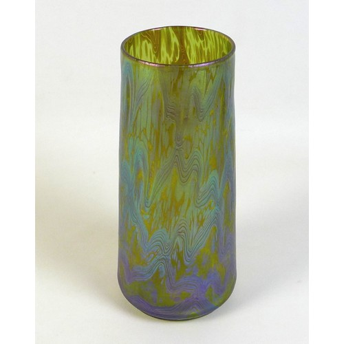 48 - An early 20th century Loetz iridescent glass vase, possibly goldamber colour pattern, of cylindrical...