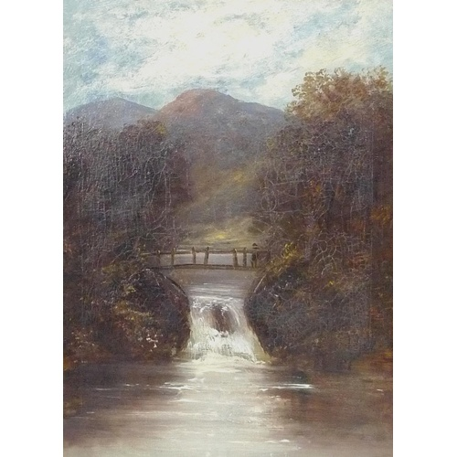 156 - British School (19th century): landscape with rustic bridge crossing a waterfall, possibly Scottish,...