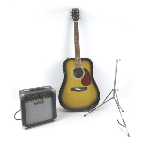80 - A Hohner Countryman electro acoustic guitar, together with an associated hard case, a 12 watt Cruise...