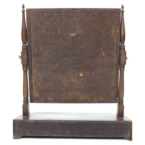 224 - A late Georgian mahogany toilet mirror, with two drawers to bow fronted base, 61.5 by 23.5 by 71cm h...