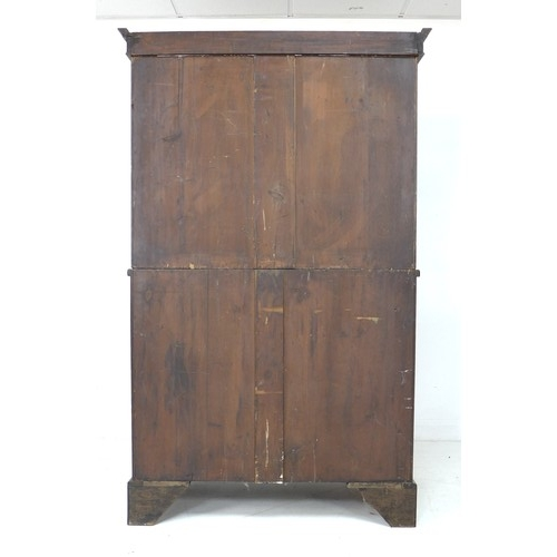 249 - An Edwardian mahogany press cupboard, in George III style, with line inlay and crossbanded decoratio...