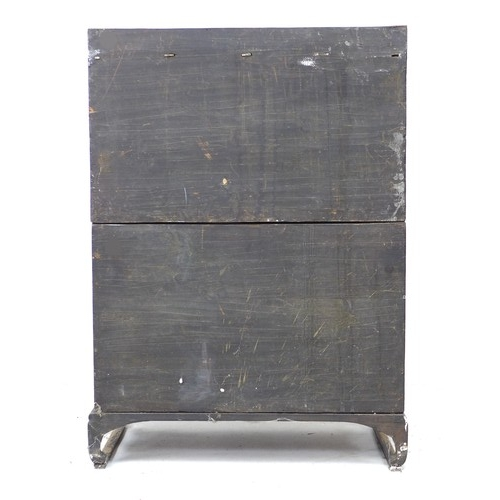 248 - An early 20th century Chinese storage cabinet, of brick front design with brass corners and handles,...