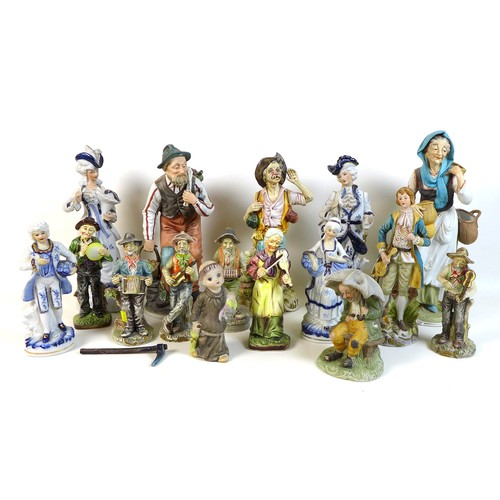 51 - A group of modern Continental ceramic figurines, various factories, tallest 36cm. (16)...