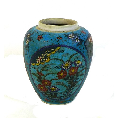 21 - A Chinese porcelain and cloisonne ginger jar, Qing Dynasty, late 19th century, decorated with three ...