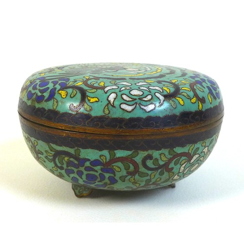 28 - A Chinese cloisonne enamel circular box and cover, probably late Qing Dynasty, 19th century, decorat...