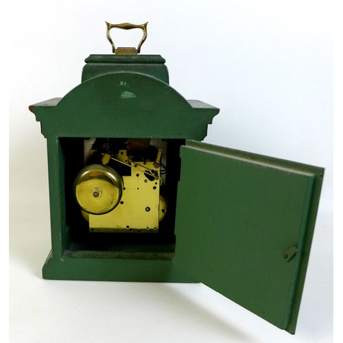 100 - A vintage Dutch John Warmink mantel clock, with green painted case and brass carry handle, 8 day mov...