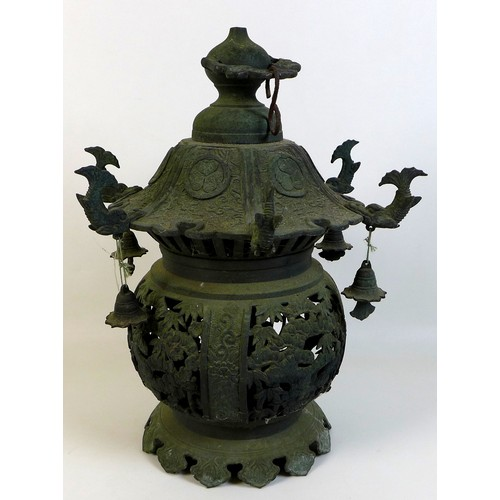 32 - A Chinese bronze lantern, early to mid 20th century, of ovoid bodied form with pagoda style roof, th...