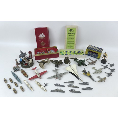 123 - A group of collectable toys, over twenty die cast vehicles figures, including a set of Subbuteo Socc...