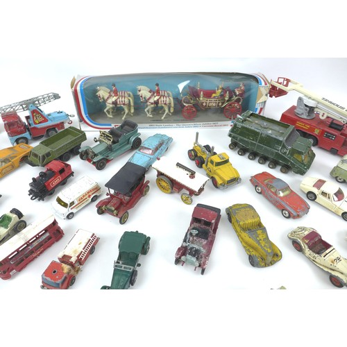 125 - A collection of over fifty die cast Corgi, Matchbox and Lesney toy vehicles, almost for restoration,...