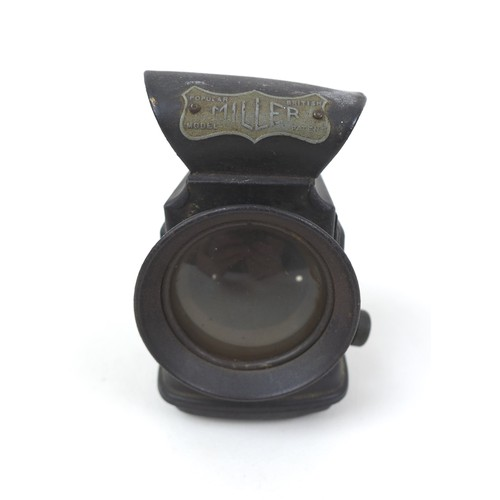 110 - A pair of black British Rail lamps, both in black, with magnified lenses, each 20 by 24 by 45cm high...