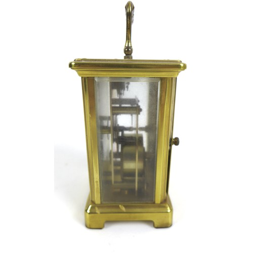 101 - A 20th century French brass cased carriage clock by Bayard, with Roman numeral dial, keyless movemen...