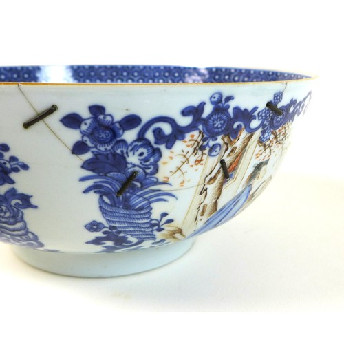 9 - A group of Chinese porcelain, comprising a white glazed bowl of censor form, 19th century, with twin...