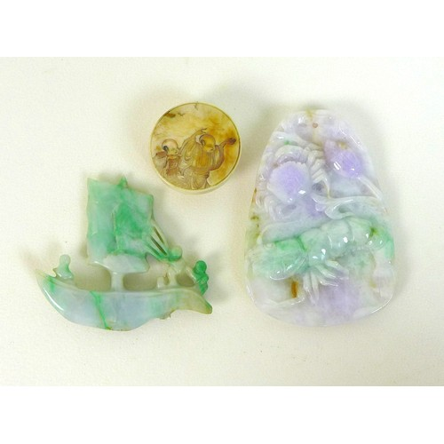 10 - Two Chinese jade carvings, one modelled as a boat with three figures sailing it, 5cm, the other a pe...