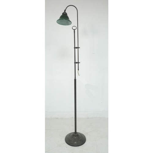 218 - An Edwardian style standard lamp, late 20th century, with part reeded column, adjustable height fitt...