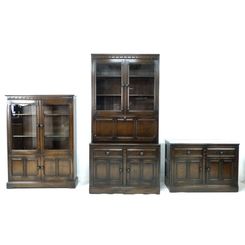 194 - An Ercol dark stained oak bookcase, circa 1980, 'Bookcase', model 724, in Old Colonial Antique colou...