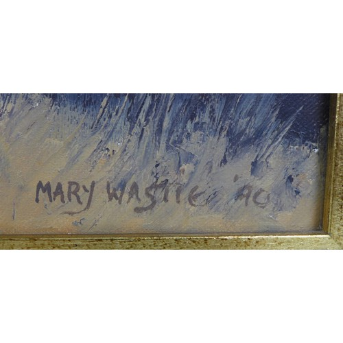 155 - Mary Wastie (British, 20th century): a Cornish cove, signed lower right, oil on canvas, 44.5 by 64.5...