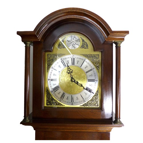 244 - A modern jarrah wood and sapele mahogany long case clock, hand built by Colin Smith of Waterbeach in...