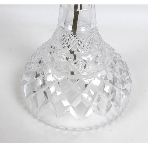 65 - A cut glass table lamp, mid 20th century, of mushroom form with removable domed shade and tapering b...