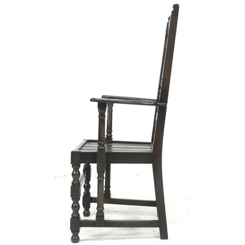 202 - An Ercol dark stained oak five drawer pedestal desk, circa 1980, 'Writing Desk', model 696, in Old C...