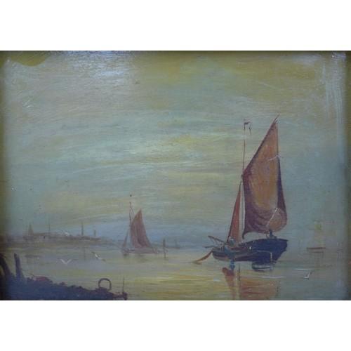 151 - E. Cooke (British, 19th century): sailing boats near shoreline, signed, indistinct pencil written te...