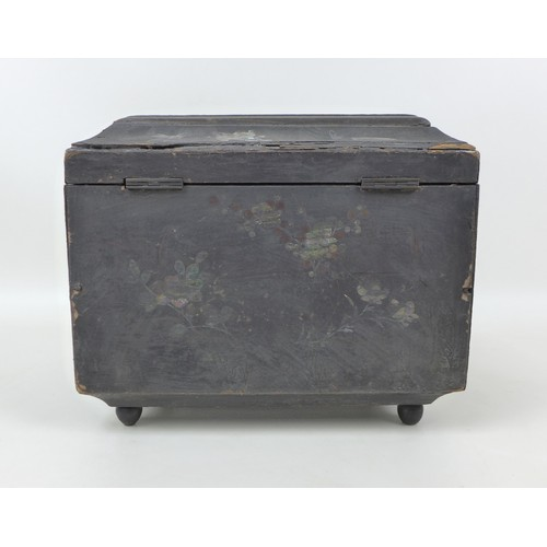 17 - A 19th century chinoiserie tea caddy of sarcophagus form, with mother of pearl inlaid floral and rel...