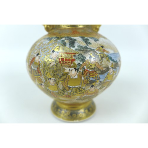 6 - A Japanese Satsuma vase, Meiji period, of baluster form with wide flared rim, decorated in typical s...