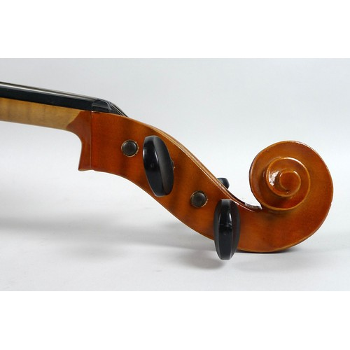 86 - A 1/2 size cello, circa 1970's, with paper label 'Made in Hungary' to inside, bridge marked 'Randle'...