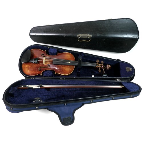 85 - A 3/4 Mittenwald violin, 57cm length, with bow and fitted hard case, together with  black painted wo...