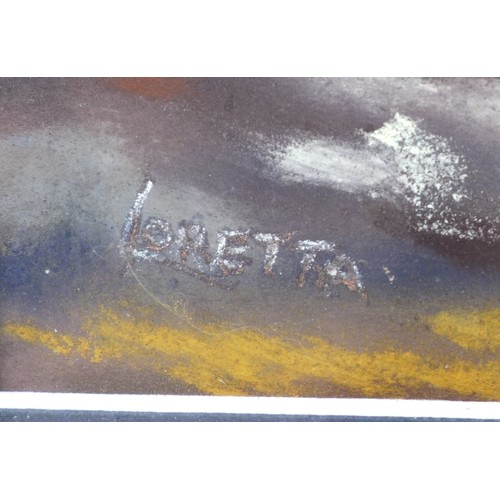 153 - Loretta Higgs (British, 20th century): 'Distant Horizons', signed lower left and titled verso, paste...