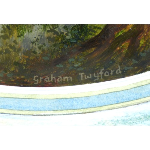 160 - Graham Twyford (British, b. 1956): 'The Bivouac', oil on paper in roundel, signed below, titled vers...
