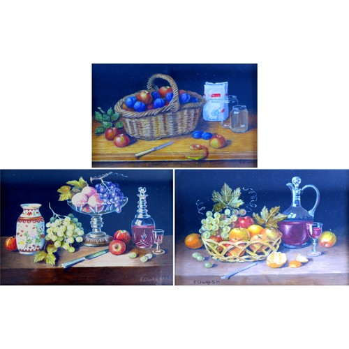 159 - Enid Clarke ARMS (British, b. 1919, Norfolk): three still life studies of fruit and other objects on...